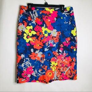 Ann Taylor Loft bright floral midi skirt